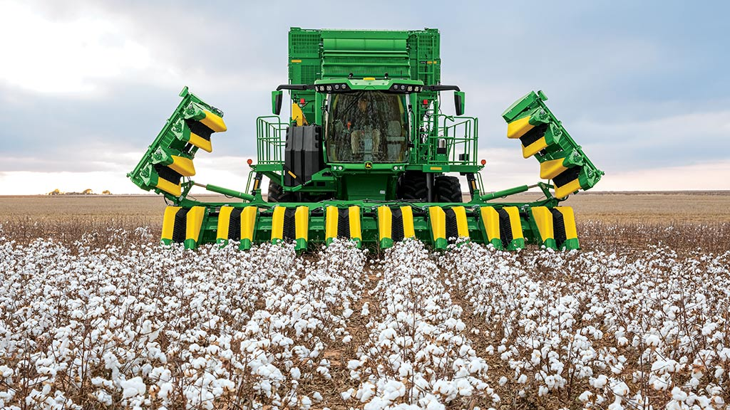 Image of a Cotton Stripper with a SH12F folding header in field